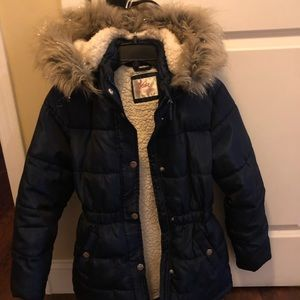 Justice 12/14 Navy Blue puffer coat!